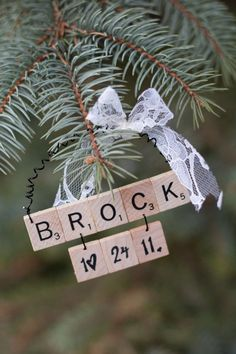 Wedding Scrabble Christmas Ornaments by TheCuckoosBoutique on Etsy, $25.00