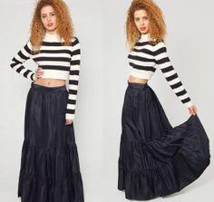 Vintage 50s Black HIGH WAIST Maxi Skirt Flared Goth Skirt by LotusvintageNY