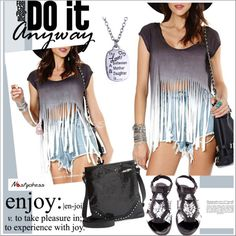 How To Wear fringe t-shirt Outfit Idea 2017 - Fashion Trends Ready To Wear For Plus Size, Curvy Women Over 20, 30, 40, 50