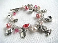 It's A Girl! New Mom Grandma Baby Shower Gender Reveal Mother's Day Silver Charm Bracelet - pinned by pin4etsy.com