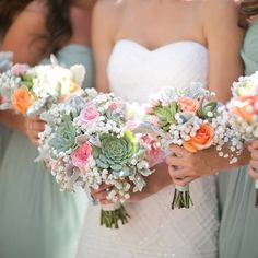 Light Green and Peach Bridesmaid Bouquets.  Succulents were the focal point of the bouquets, along with roses, ranunculuses and baby's breath.  http://www.theknot.com/weddings/photo/light-green-and-peach-bridesmaid-bouquets-167780?manual_cm_sp=%22RW_Results-_-ChildDetailSharing-_-Pinterest%22
