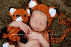 Handmade Crochet Fox Stuffy & Newborn Bonnet Set / Photo Prop Amigurumi Stuffy Fox Toy Vintage Style / Perfect Baby Shower Gift / under 50