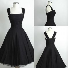 Black Short Chiffon Calf Length Prom Dress Black Party Dress Vintage Prom Dress Little Blacellow/Red/Royal Blue/Lavender/Purple/ Cheap from Beautypalace,$41.88 | DHgate.com