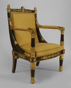 French Empire seating chair/arm chair-pair lacquer