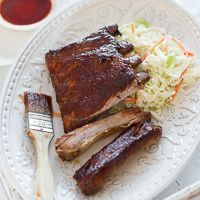 Bourbon Maple Ribs Recipe ~ Same method I have used for years but this glaze sounds wonderful. Can't wait to try it.