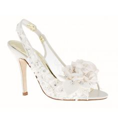 'Fairy Dust' by Freya Rose. Pearls, lace, crystals and a gorgeous silk rose. What more could you want?. #bridal #shoes #heels #wedding. www.freyarose.com