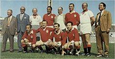 BENFICA(Xico Ferreira, Vítor Silva, Jacinto, Guia Costa, Rogério de Sousa. Em baixo: Mário Rui, Luís Xavier, Albino e Artur Santo
