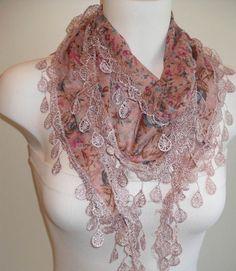 Pink Elegance Shawl / Scarf with Lace Edge by SwedishShop on Etsy, $15.90
