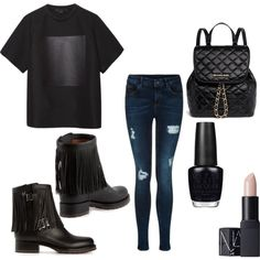 all black everything by voicuandrada on Polyvore featuring Alexander Wang, Valentino, MICHAEL Michael Kors, NARS Cosmetics and OPI