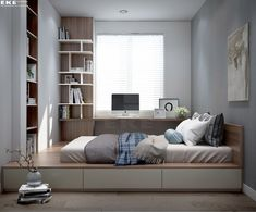 small bedroom design , small bedroom design ideas , minimalist bedroom design for small rooms , how to design a small bedroom Small Master Bedroom, Master Bedroom Design, Home Decor Bedroom, Bedroom Furniture, Bedroom Ideas, Diy Bedroom, Bedroom Storage, Master Suite, Small Bedrooms