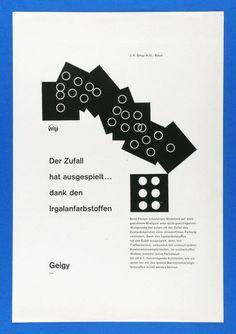 Karl Gerstner – Der Zufall hat ausgespielt... dank den Irgalanfarbstoffen / Auch bei Tropensonne...! Solopenyle-Gebrauchsgrafik