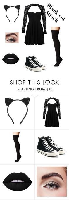 """""""Black cat Halloween pt1"""" by missashleighc ❤ liked on Polyvore featuring Maison Michel, Boohoo, Socksmith, Converse, Lime Crime and Avon"""