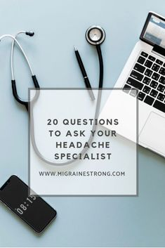 Attention, migraine patients: learn the top 20 questions you should be asking your headache specialist or neurologist when you visit for an appointment. Types Of Migraines, Chronic Migraines, Chronic Fatigue, Chronic Illness, Chronic Pain, Headache Diary, Bad Headache, Tension Headache, Migraine Diet