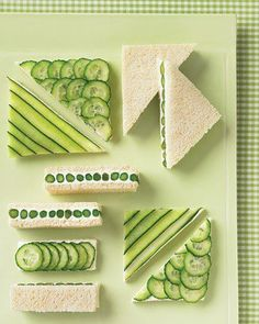 Cucumber sandwiches, with side of vegetables/crackers, fruit kabobs and scone/dessert.