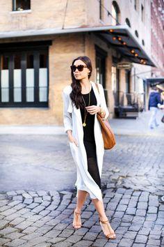 White silk trench coat
