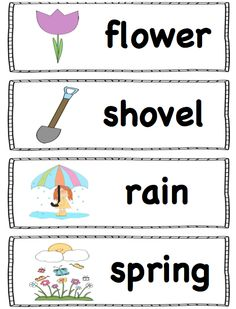 For a word wall, pocket chart or writing center! For a word wall, pocket chart or writing center! Preschool Word Walls, Kindergarten Literacy, Montessori Elementary, Early Literacy, Spring Words, Spring School, Spring Activities, Easter Activities, Speech And Language