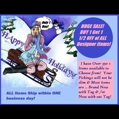 Buy one get one 50% off DESIGNER SALE! 350+ items Buy one get one 50% off sale on all designer items! Most of the items I have listed are new with or without tag number less they are gifted bowl gorgeous and ready to go! I will ship within one business day or the same day depending upon which one is first to make sure your delivery is speedy! This bow go sale is not applicable with the 25% off bundle and a couple of the other sales I have going on but this is an excellent opportunity to get…