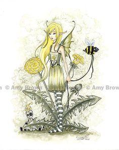 Fairy Art by Amy Brown - Bee Girl - Dandelion Faerie