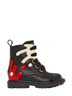 Moschino leather boots #kidswear | LUISAVIAROMA