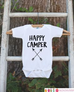 Kid's Happy Camper Outfit - White Shirt or Onepiece - Camping Arrow T-Shirt - Camp T Shirt for Baby, Toddler, or Youth - Adventure Clothing