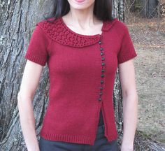 Iolanthe by Mary Annarella - a spring-y sweater to #knit with Swan's Island Organic Merino Fingering! #sweater #organic