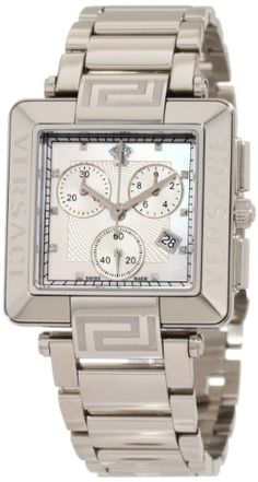 Versace Womens 88C99SD497 S099 Reve Carr Chronograph MotherOfPearl Diamond Steel Bracelet Watch ** Find out more at the image link.