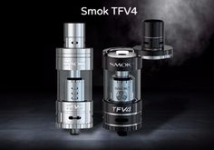 SMOK TFV4 tank for optimal air flow delivery and cloud production available in black and stainless steel.For more info visit our website http://www.brokenvapor.com/