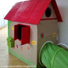 kinderspielhaus aus karton selbermachen pappe pappkarton. Black Bedroom Furniture Sets. Home Design Ideas