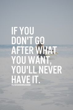 """If you don't go after what you want, you'll never have it."""