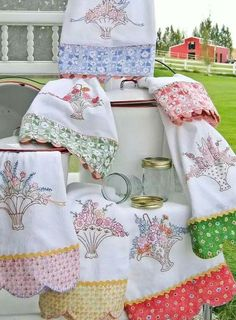 Hungarian Embroidery Patterns Hand Embroidery Pattern - Grandma's Tea Towels - DMC Embroidery Floss Requirements for this pattern: Towel Embroidery, Dmc Embroidery Floss, Embroidery Transfers, Hand Embroidery Stitches, Hand Embroidery Designs, Ribbon Embroidery, Cross Stitch Embroidery, Machine Embroidery, Embroidery Sampler