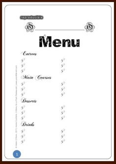 Free Printable Restaurant Menu Template. Free Restaurant Menu ...