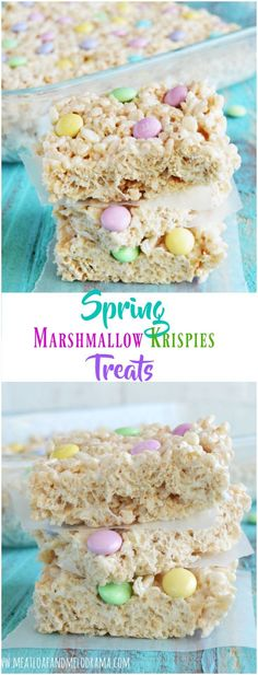Spring Marshmallow Krispie Treats - A quick and easy dessert or snack made with rice krispies and pastel candy and perfect for Easter or anytime - Meatloaf and Melodrama