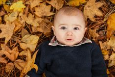 Baby boy six month photo session.  Fall leaves.  Charleston SC family photographer