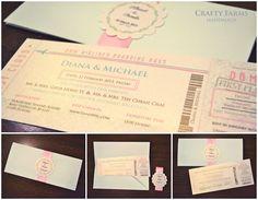 Mint and Pink DestinationBoarding Pass Travel Theme  Wedding Invitation card (craftyfarms.blogspot.com)