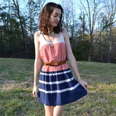 Vintage Red, Cream, and Navy Striped Mini Dress size M