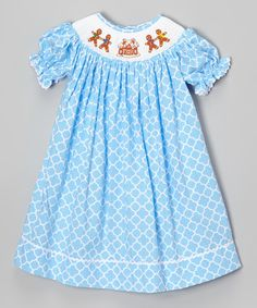 Look at this #zulilyfind! Smocked or Not Blue Gingerbread Bishop Dress - Infant, Toddler & Girls by Smocked or Not #zulilyfinds