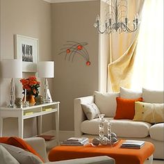 From show-stopping wall paint to earthy home accents, you can easily (and artfully) add orange to any room in the house. Neutral Room, Home Living Room, Interior, Home, Earthy Home, Orange Decor, Living Room Orange, Neutral Living Room, Home And Living
