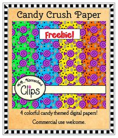 Freebie!!! Candy Crush Paper Collection - Four colorful papers with a fun candy theme!  http://www.teacherspayteachers.com/Product/Freebie-Candy-Crush-Paper-Collection-737302