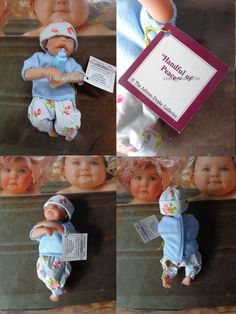 Heavenly Handfuls Tiny Baby Vinyl Doll Boy 4.5  w/ Certificate Baby Bottle NEW