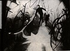 Film: The Cabinet of Dr. Caligari by Fritz Lang. One of the most well-know film examples of German Expressionism, as well as an important influence on the Horror and Film Noir genres.