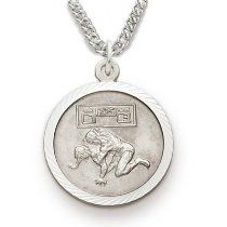 "Sterling Silver Boy's Wrestling Medal, St Christopher on Back Sports Jewelry Boys Sports Patron Saint St Medal Catholic with St Christopher on Back w/Chain 20"" Length"