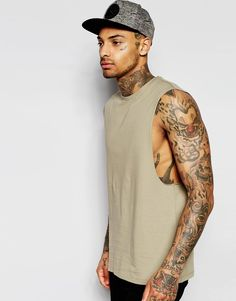ASOS Sleeveless T-Shirt With Dropped Armhole In Green