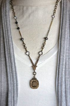 Gypsy-Vintage assemblage necklace watch por frenchfeatherdesigns