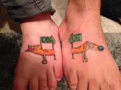 My best friend and I got a pretty clever tattoo. We used catdog because they described us both to a T. I'm the cat and my best friend is the dog. Thank you to Ryan at Slingin Ink in Point Pleasant, New Jersey. Great work, dude.