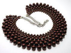 Handmade maroon glass pearl necklace by ZoilaBelleCreations, $70.00