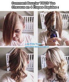 """Heureusement il existe un secret pour boucler vos cheveux rapidement ! Je l'appelle """"l'astuce queue de cheval"""" !  Découvrez l'astuce ici : http://www.comment-economiser.fr/comment-boucler-tout-vos-cheveux-en-4-etapes-rapides.html?utm_content=buffer15285&utm_medium=social&utm_source=pinterest.com&utm_campaign=buffer"""