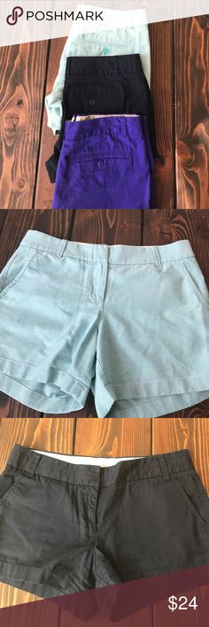 J. Crew shorts bundle 3 pairs of j. Crew shorts: size 6 heathered green/blue 5 inch length. Size 6 navy 3 inch length, size 8 purple 5 inch length. All in great condition. Bundle with other items to save! J. Crew Shorts
