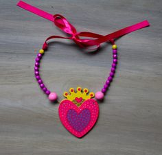 Crown Heart Necklace Hand Painted Unique and Colorful by lucyjory