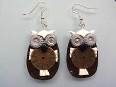 Winking Steampunk Owl Clock Body Earrings by ConstantMindJewelry, $11.99