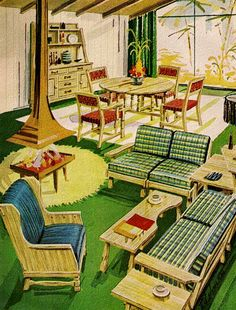 <~> Illustrations from Mid~Century, Love This 1950's Living Room !! ~:<3